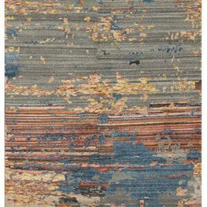 Modern area rug with warm color tones