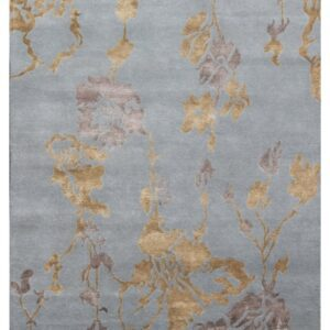 Area rug blue and gold patterns modern