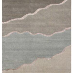 Modern area rug beige grey tones simple 4 section design