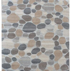 Area rug with stone design grey