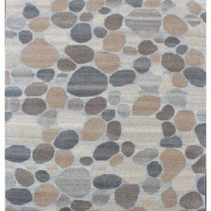 Area rug with stone design grey