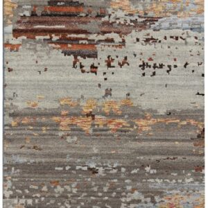 Abstract modern design area rug with grey and orange tones