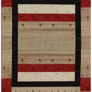 Modern area rug with beige red and black colors and 90 angles
